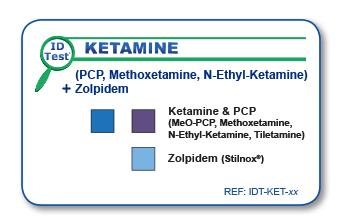 Ketamine & PCP identification test on solid and liquid